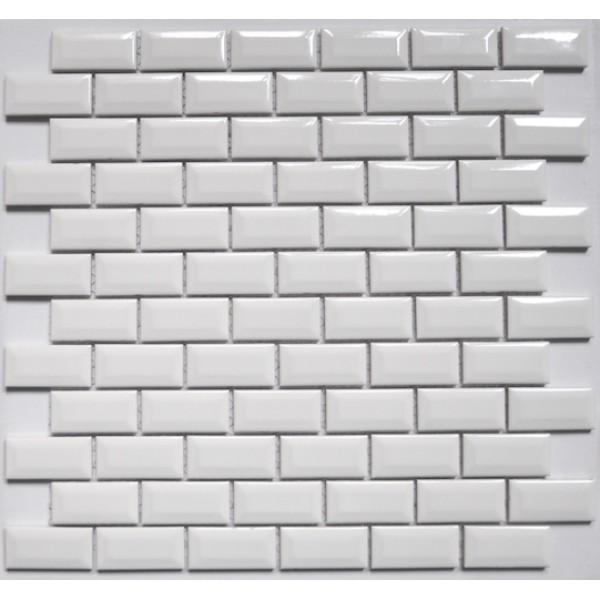 AQUACOLOR WHITE METRO TEGELSTRIP / MOZAIK WIT GLANS 1 M2 P. DOOS